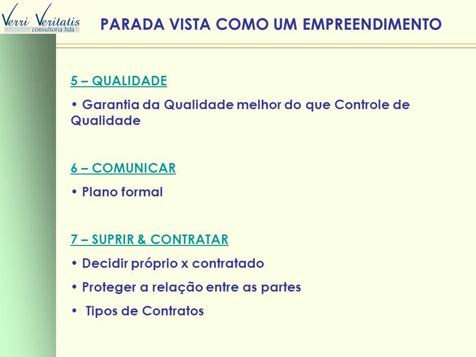5 – QUALIDADE Garantia da Qualidade melhor do que Controle de Qualidade 6 – COMUNICAR Plano formal 7 – SUPRIR & CONTRATAR Decidir próprio x contratado