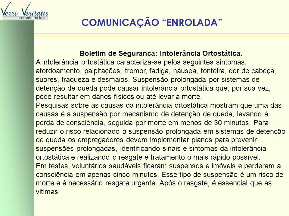 VERRI COMUNICAÇÃO ENROLADA Boletim de Segurança: Intolerância Ortostática. A intolerância ortostática caracteriza-se pelos seguintes sintomas: atordoa