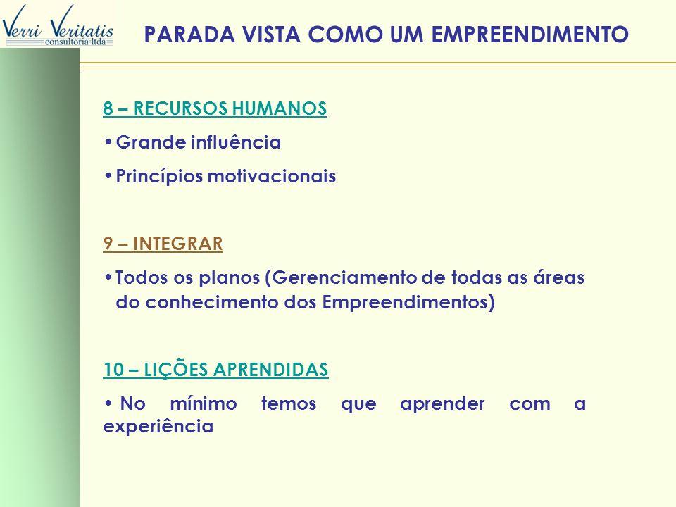 8 – RECURSOS HUMANOS Grande influência Princípios motivacionais 9 – INTEGRAR Todos os planos (Gerenciamento de todas as áreas do conhecimento dos Empr