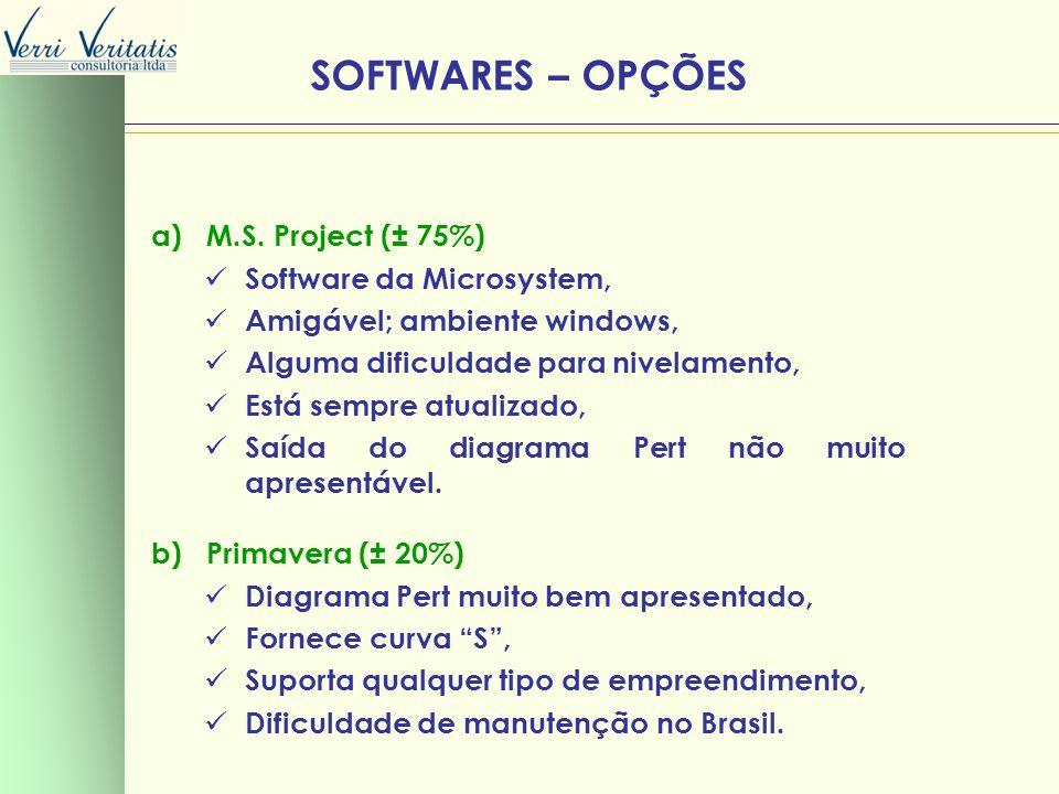 VERRI a) M.S. Project (± 75%) Software da Microsystem, Amigável; ambiente windows, Alguma dificuldade para nivelamento, Está sempre atualizado, Saída