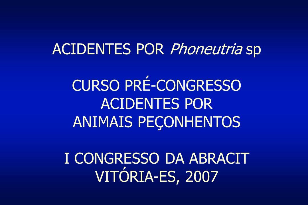 ACIDENTES POR Phoneutria sp CURSO PRÉ-CONGRESSO ACIDENTES POR ANIMAIS PEÇONHENTOS I CONGRESSO DA ABRACIT VITÓRIA-ES, 2007