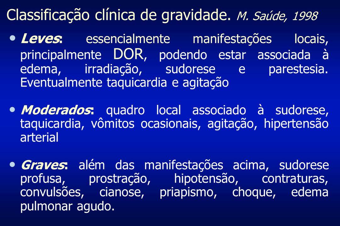 Classificação clínica de gravidade. M. Saúde, 1998 Leves : essencialmente manifestações locais, principalmente DOR, podendo estar associada à edema, i