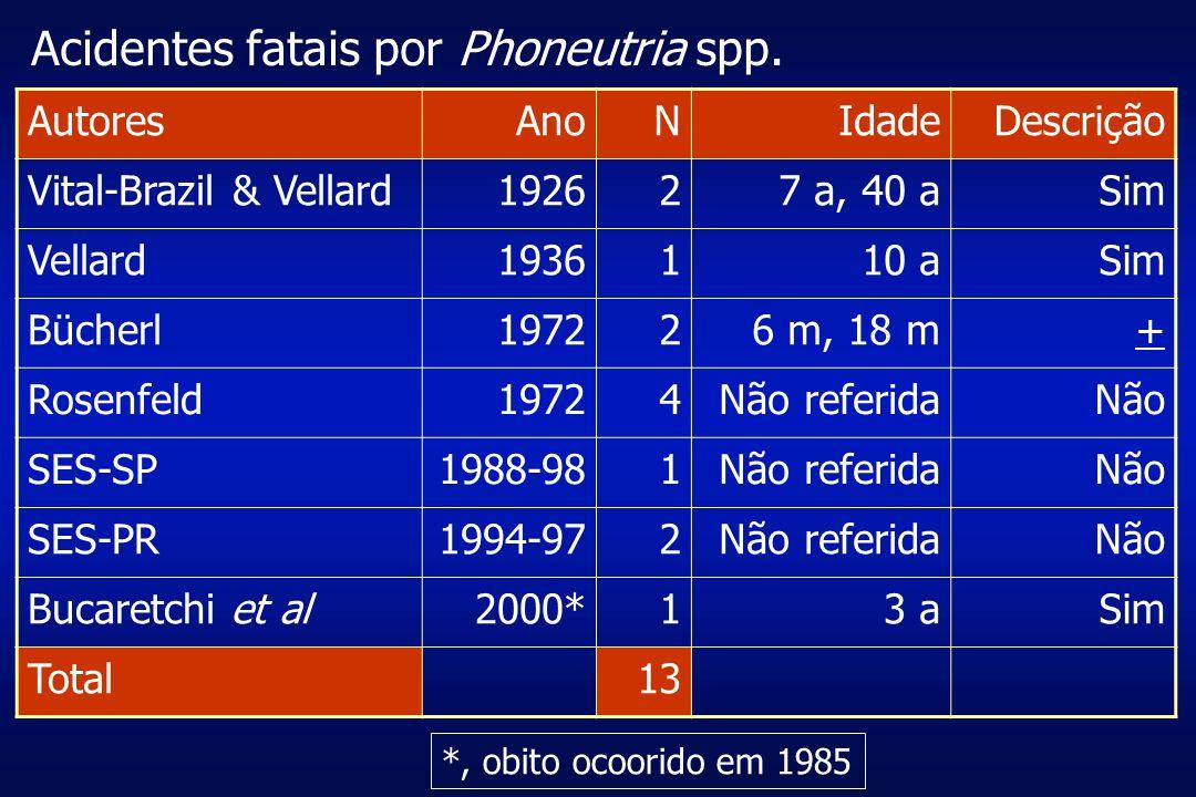 Acidentes fatais por Phoneutria spp. AutoresAnoNIdadeDescrição Vital-Brazil & Vellard192627 a, 40 aSim Vellard1936110 aSim Bücherl197226 m, 18 m+ Rose