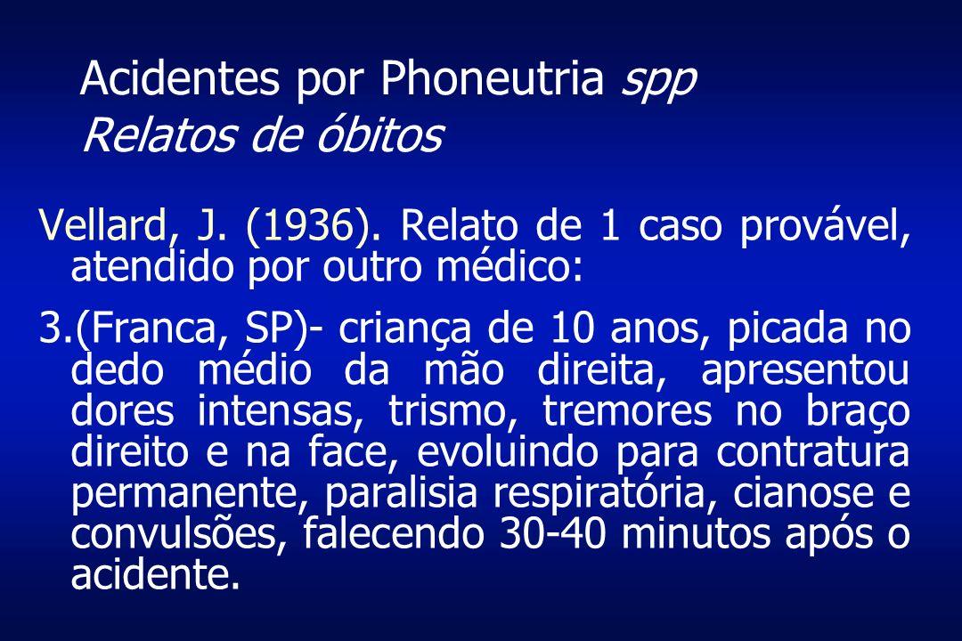 Acidentes por Phoneutria spp Relatos de óbitos Vellard, J. (1936). Relato de 1 caso provável, atendido por outro médico: 3.(Franca, SP)- criança de 10