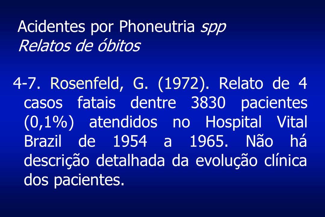 Acidentes por Phoneutria spp Relatos de óbitos 4-7. Rosenfeld, G. (1972). Relato de 4 casos fatais dentre 3830 pacientes (0,1%) atendidos no Hospital