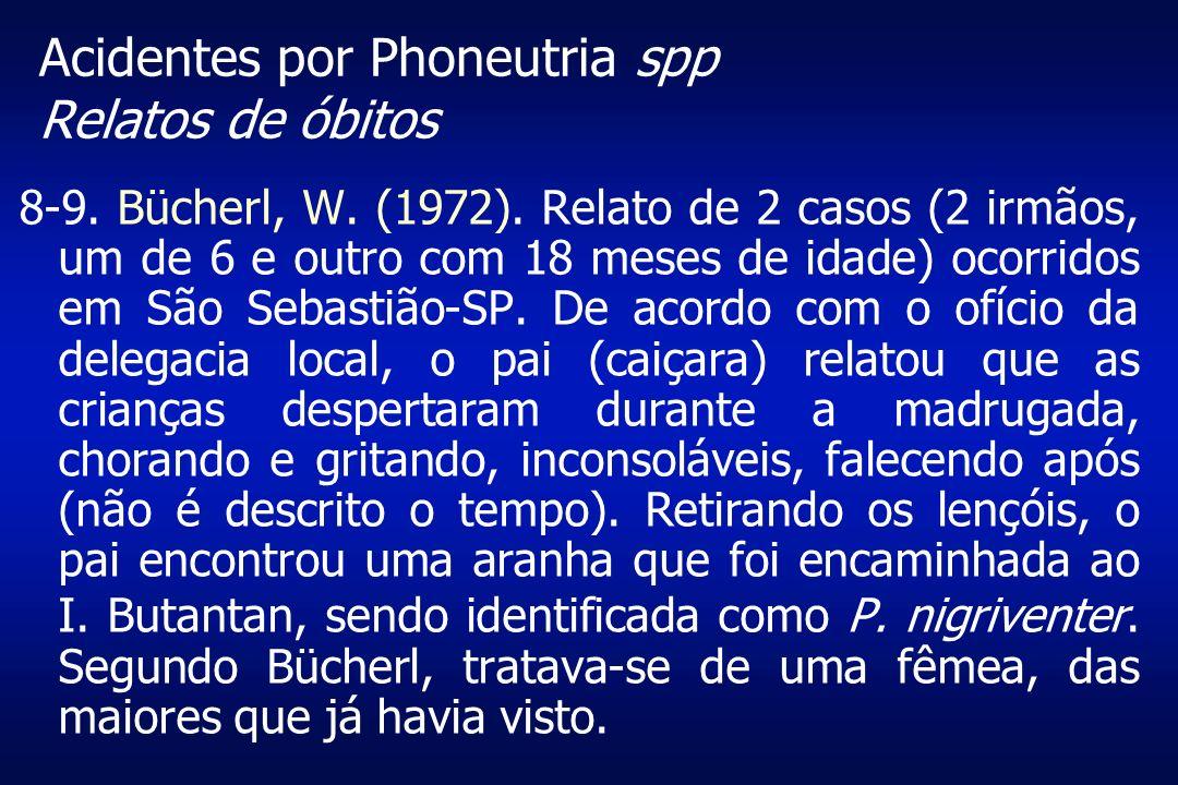 Acidentes por Phoneutria spp Relatos de óbitos 8-9. Bücherl, W. (1972). Relato de 2 casos (2 irmãos, um de 6 e outro com 18 meses de idade) ocorridos