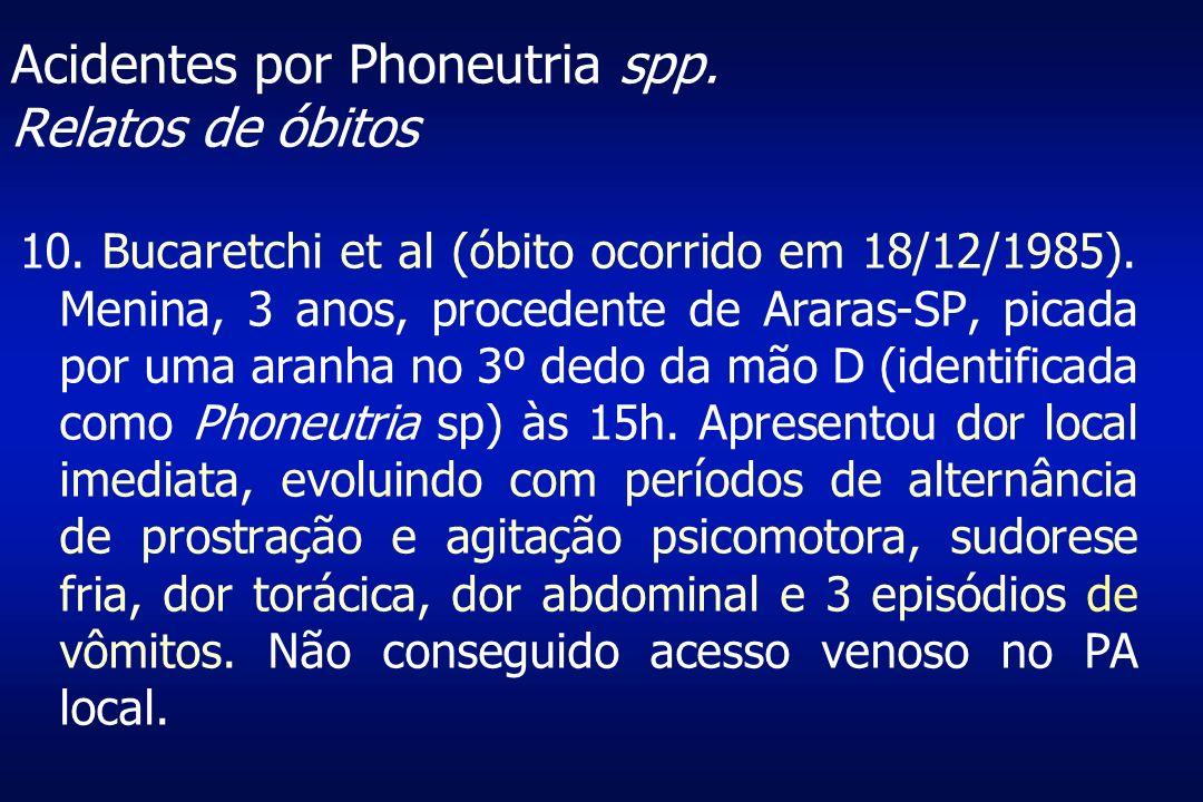 Acidentes por Phoneutria spp. Relatos de óbitos 10. Bucaretchi et al (óbito ocorrido em 18/12/1985). Menina, 3 anos, procedente de Araras-SP, picada p