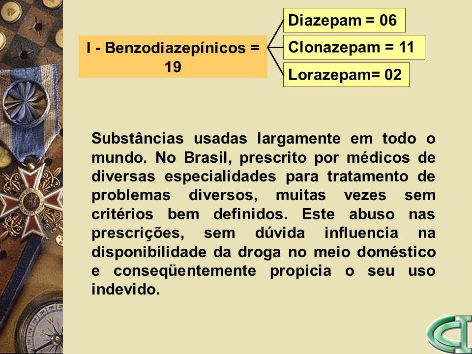 I - Benzodiazepínicos = 19 Diazepam = 06 Clonazepam = 11 Lorazepam= 02 Substâncias usadas largamente em todo o mundo. No Brasil, prescrito por médicos
