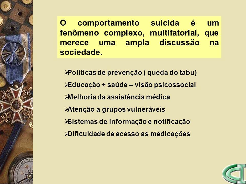 O comportamento suicida é um fenômeno complexo, multifatorial, que merece uma ampla discussão na sociedade. Políticas de prevenção ( queda do tabu) Ed