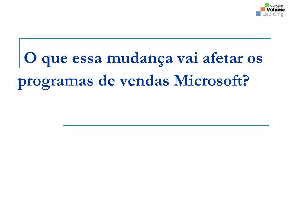 O que essa mudança vai afetar os programas de vendas Microsoft?