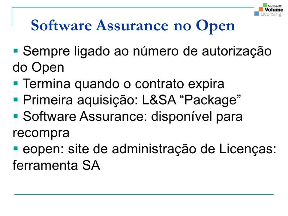 Software Assurance no Open Sempre ligado ao número de autorização do Open Termina quando o contrato expira Primeira aquisição: L&SA Package Software Assurance: disponível para recompra eopen: site de administração de Licenças: ferramenta SA