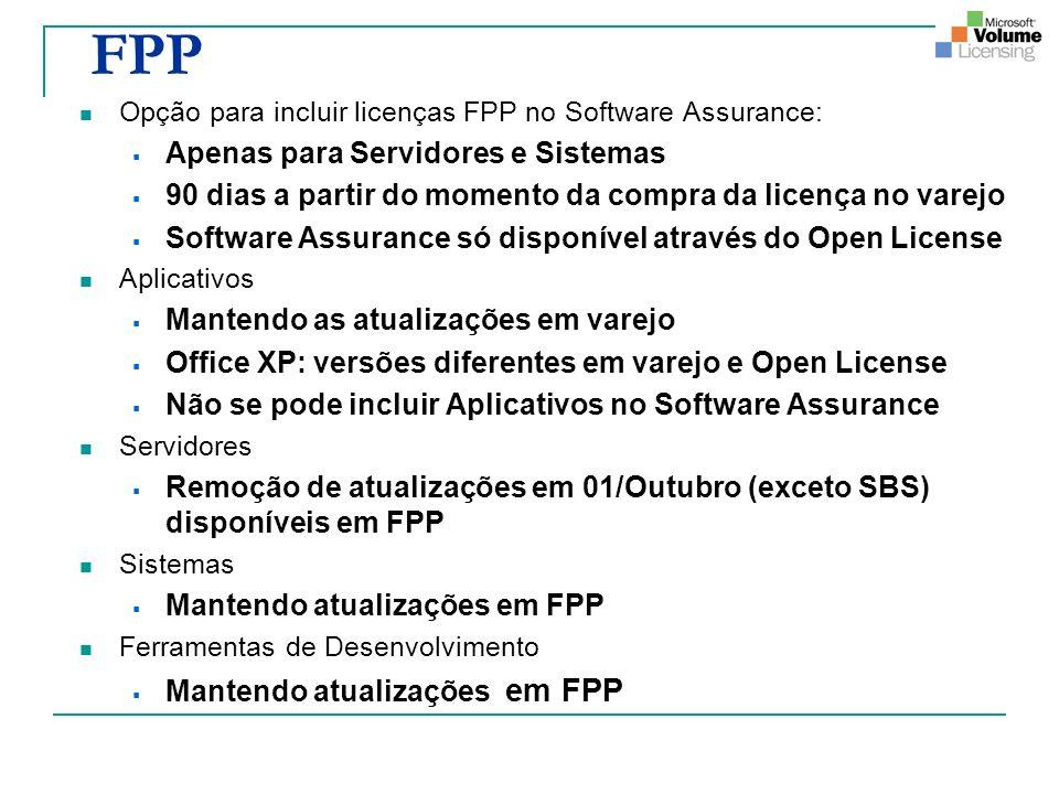 FPP Opção para incluir licenças FPP no Software Assurance: Apenas para Servidores e Sistemas 90 dias a partir do momento da compra da licença no varejo Software Assurance só disponível através do Open License Aplicativos Mantendo as atualizações em varejo Office XP: versões diferentes em varejo e Open License Não se pode incluir Aplicativos no Software Assurance Servidores Remoção de atualizações em 01/Outubro (exceto SBS) disponíveis em FPP Sistemas Mantendo atualizações em FPP Ferramentas de Desenvolvimento Mantendo atualizações em FPP