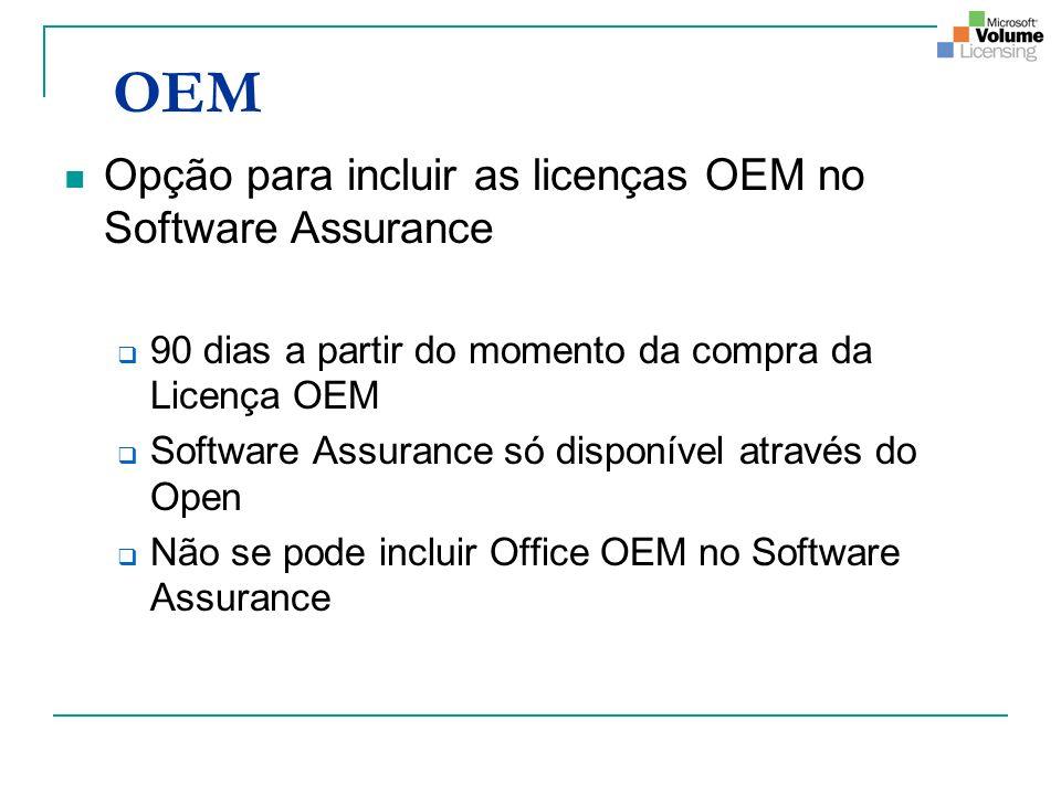OEM Opção para incluir as licenças OEM no Software Assurance 90 dias a partir do momento da compra da Licença OEM Software Assurance só disponível através do Open Não se pode incluir Office OEM no Software Assurance