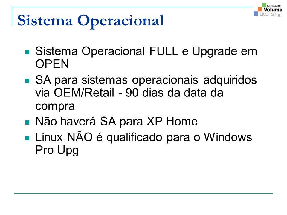 Sistema Operacional Sistema Operacional FULL e Upgrade em OPEN SA para sistemas operacionais adquiridos via OEM/Retail - 90 dias da data da compra Não
