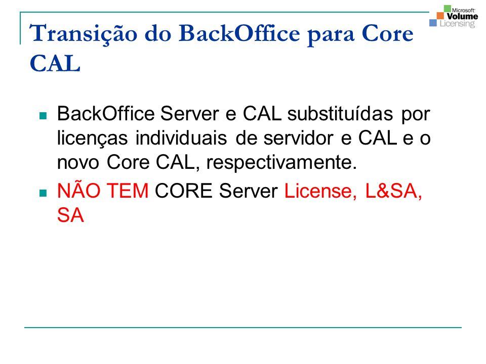 Transição do BackOffice para Core CAL BackOffice Server e CAL substituídas por licenças individuais de servidor e CAL e o novo Core CAL, respectivamente.