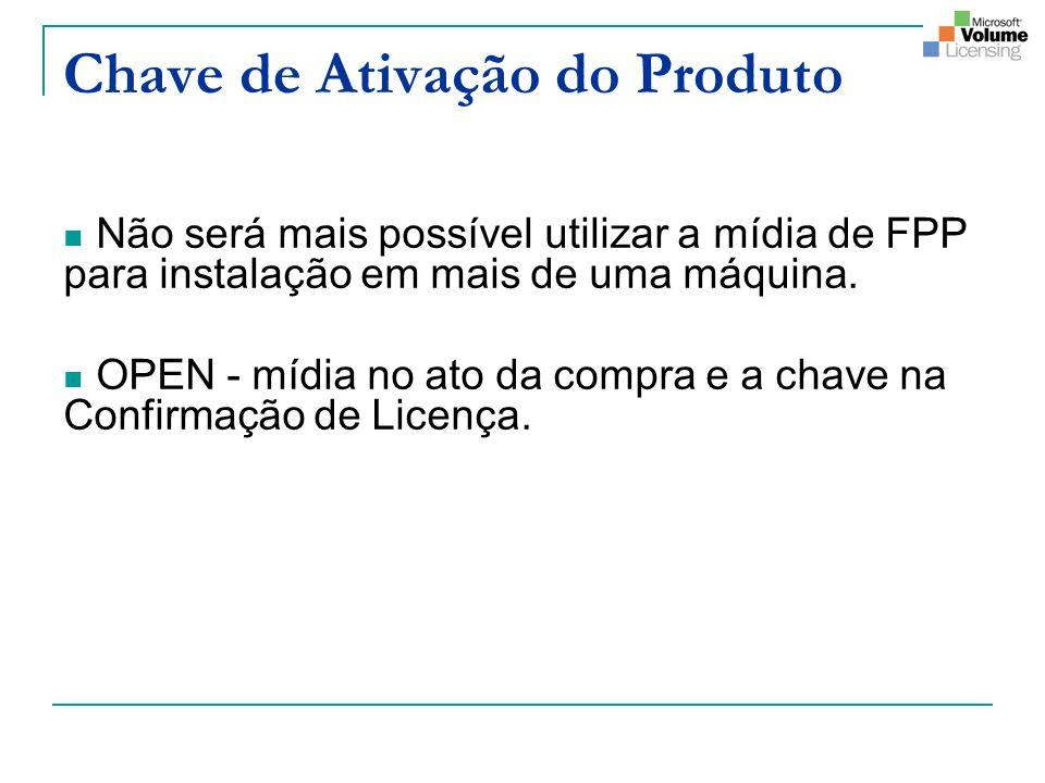 Chave de Ativação do Produto Não será mais possível utilizar a mídia de FPP para instalação em mais de uma máquina. OPEN - mídia no ato da compra e a