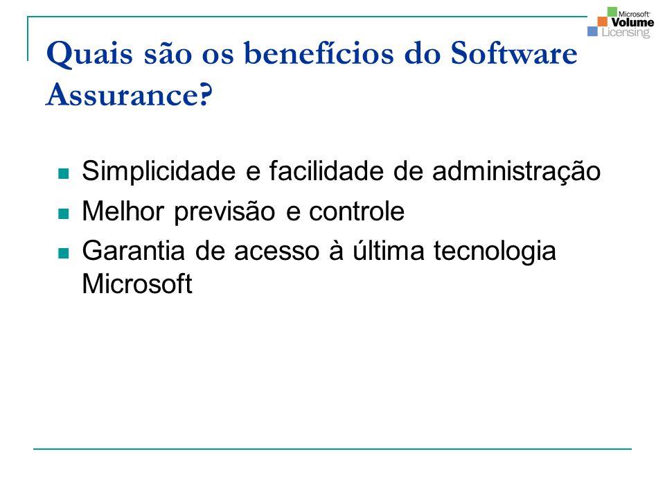 Quais são os benefícios do Software Assurance? Simplicidade e facilidade de administração Melhor previsão e controle Garantia de acesso à última tecno