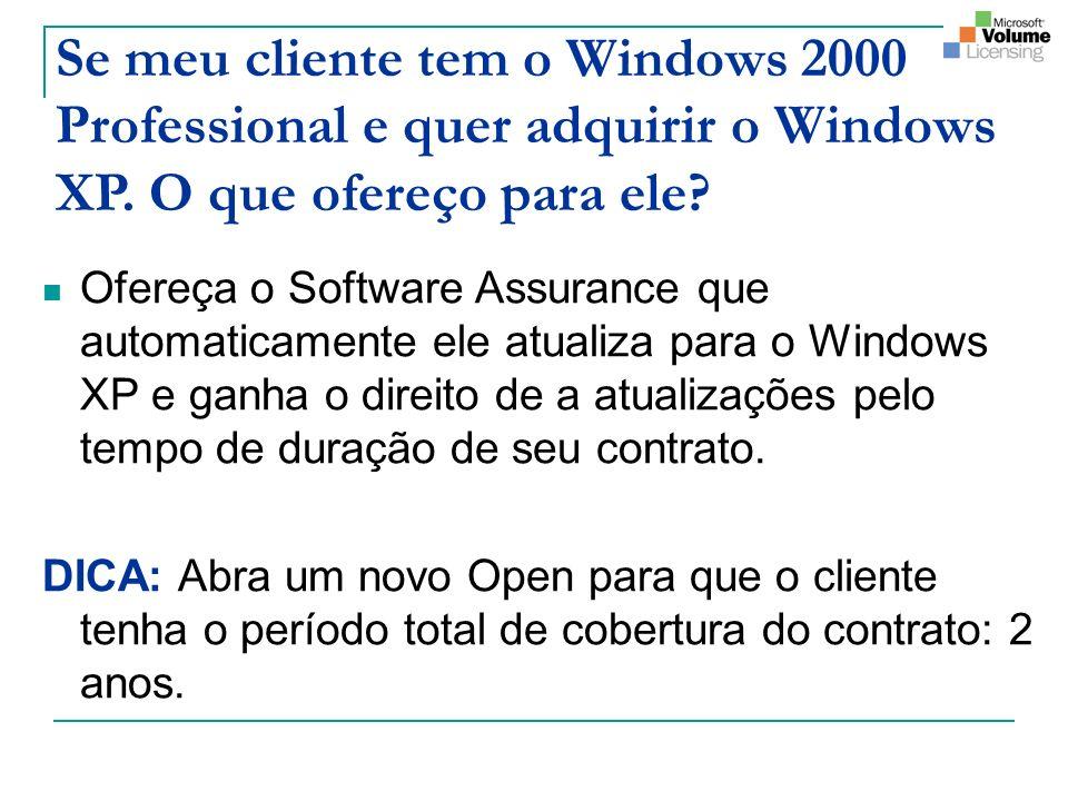 Se meu cliente tem o Windows 2000 Professional e quer adquirir o Windows XP. O que ofereço para ele? Ofereça o Software Assurance que automaticamente