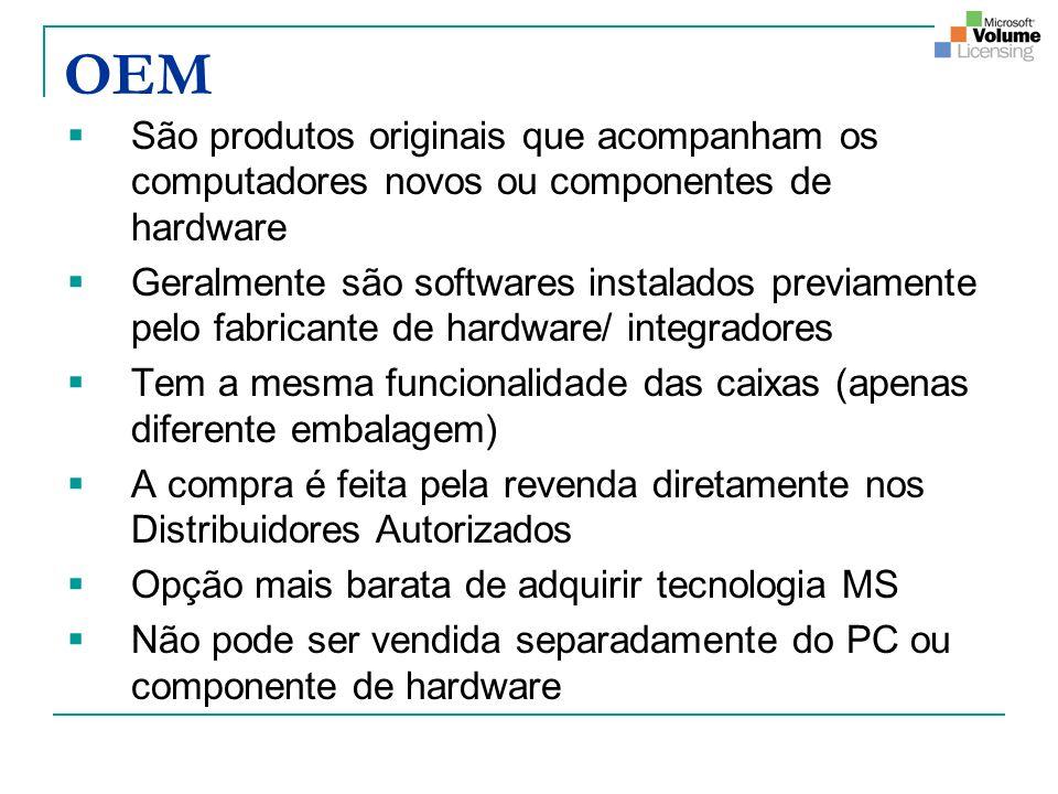 OEM São produtos originais que acompanham os computadores novos ou componentes de hardware Geralmente são softwares instalados previamente pelo fabric