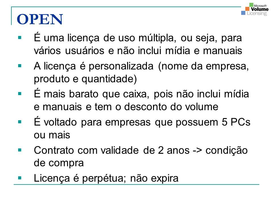 OPEN É uma licença de uso múltipla, ou seja, para vários usuários e não inclui mídia e manuais A licença é personalizada (nome da empresa, produto e q