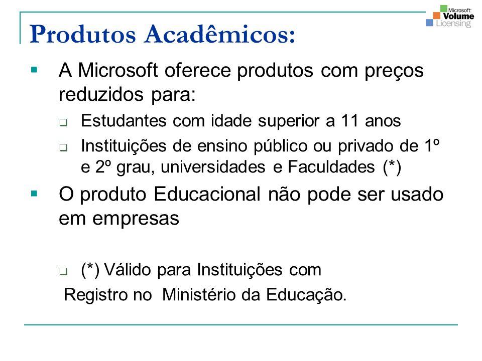 Produtos Acadêmicos: A Microsoft oferece produtos com preços reduzidos para: Estudantes com idade superior a 11 anos Instituições de ensino público ou