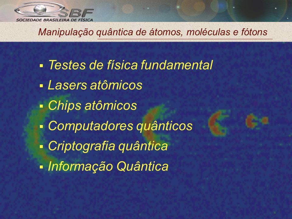 Manipulação quântica de átomos, moléculas e fótons Testes de física fundamental Lasers atômicos Chips atômicos Computadores quânticos Criptografia quântica Informação Quântica