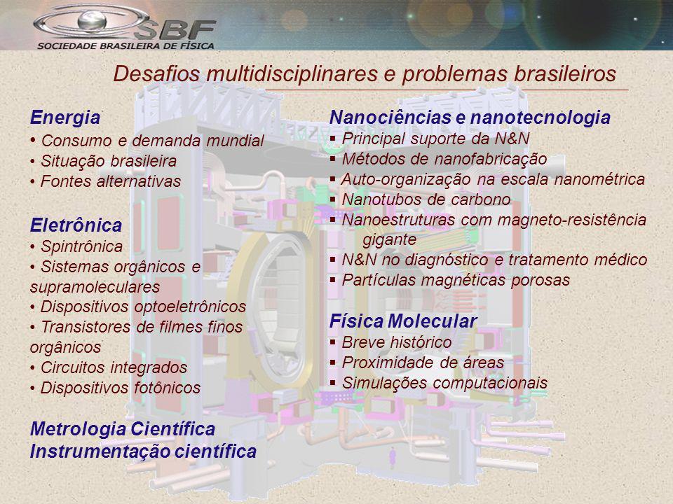 Desafios multidisciplinares e problemas brasileiros Energia Consumo e demanda mundial Situação brasileira Fontes alternativas Eletrônica Spintrônica Sistemas orgânicos e supramoleculares Dispositivos optoeletrônicos Transistores de filmes finos orgânicos Circuitos integrados Dispositivos fotônicos Metrologia Científica Instrumentação científica Nanociências e nanotecnologia Principal suporte da N&N Métodos de nanofabricação Auto-organização na escala nanométrica Nanotubos de carbono Nanoestruturas com magneto-resistência gigante N&N no diagnóstico e tratamento médico Partículas magnéticas porosas Física Molecular Breve histórico Proximidade de áreas Simulações computacionais