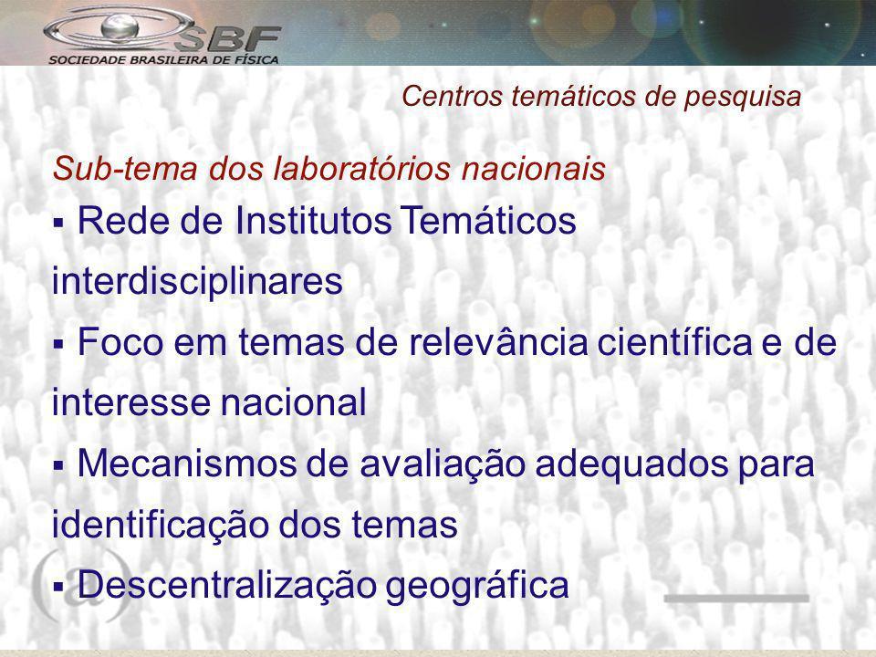 Centros temáticos de pesquisa Sub-tema dos laboratórios nacionais Rede de Institutos Temáticos interdisciplinares Foco em temas de relevância científica e de interesse nacional Mecanismos de avaliação adequados para identificação dos temas Descentralização geográfica