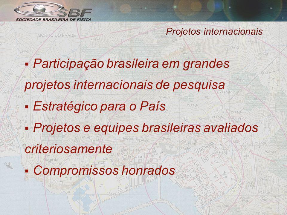 Projetos internacionais Participação brasileira em grandes projetos internacionais de pesquisa Estratégico para o País Projetos e equipes brasileiras avaliados criteriosamente Compromissos honrados
