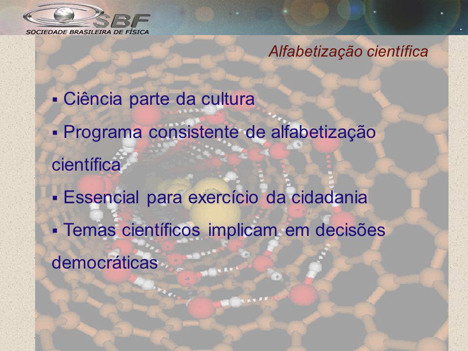 Alfabetização científica Ciência parte da cultura Programa consistente de alfabetização científica Essencial para exercício da cidadania Temas científicos implicam em decisões democráticas