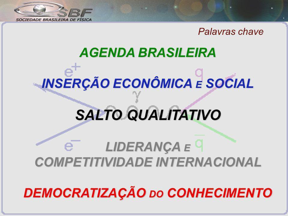 Palavras chave AGENDA BRASILEIRA INSERÇÃO ECONÔMICA E SOCIAL SALTO QUALITATIVO LIDERANÇA E COMPETITIVIDADE INTERNACIONAL DEMOCRATIZAÇÃO DO CONHECIMENTO