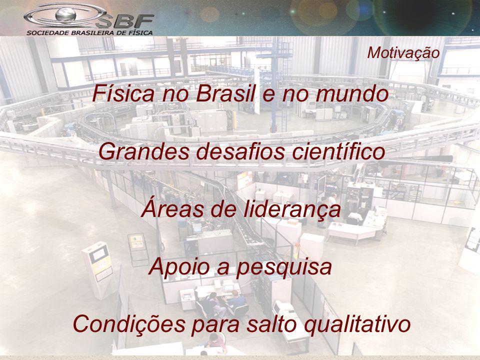 Motivação Física no Brasil e no mundo Grandes desafios científico Áreas de liderança Apoio a pesquisa Condições para salto qualitativo
