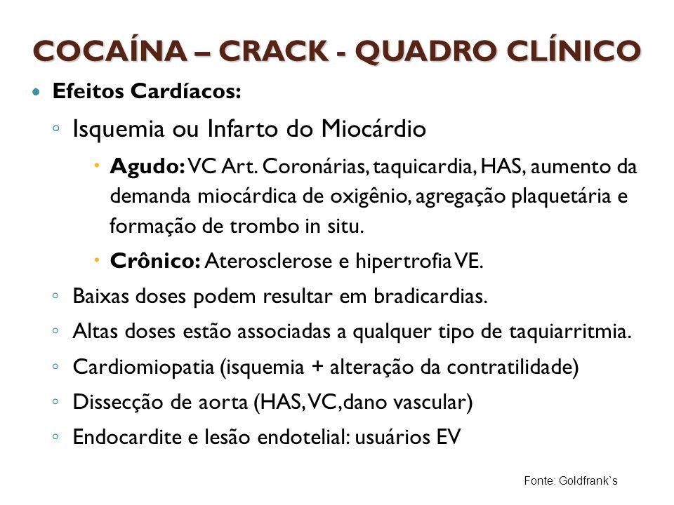 Efeitos Cardíacos: Isquemia ou Infarto do Miocárdio Agudo: VC Art. Coronárias, taquicardia, HAS, aumento da demanda miocárdica de oxigênio, agregação