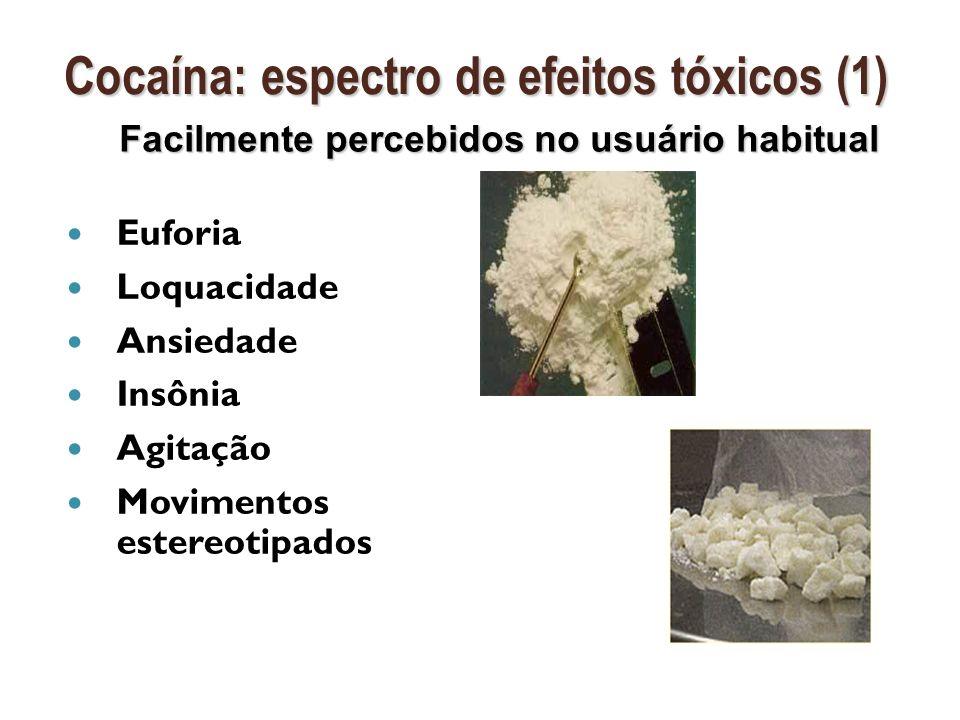 Disforia Disforia Ansiedade Ansiedade Insônia Insônia Delírios paranóides Delírios paranóides Psicose (usuários crônicos) Psicose (usuários crônicos) Tremores Tremores Distonia Distonia Crises epilépticas Crises epilépticas Cocaína: espectro de efeitos tóxicos (2) Cocaína: espectro de efeitos tóxicos (2) Levam à procura do profissional de saúde Intoxicações por drogas de abuso