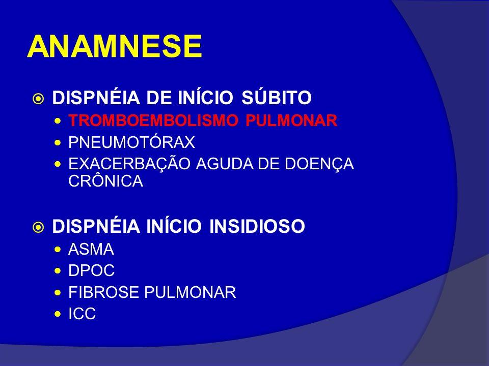 ANAMNESE DISPNÉIA DE INÍCIO SÚBITO TROMBOEMBOLISMO PULMONAR PNEUMOTÓRAX EXACERBAÇÃO AGUDA DE DOENÇA CRÔNICA DISPNÉIA INÍCIO INSIDIOSO ASMA DPOC FIBROS