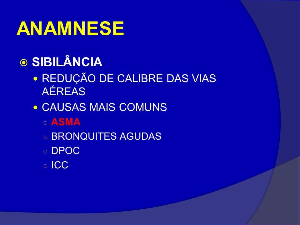 ANAMNESE SIBILÂNCIA REDUÇÃO DE CALIBRE DAS VIAS AÉREAS CAUSAS MAIS COMUNS ASMA BRONQUITES AGUDAS DPOC ICC