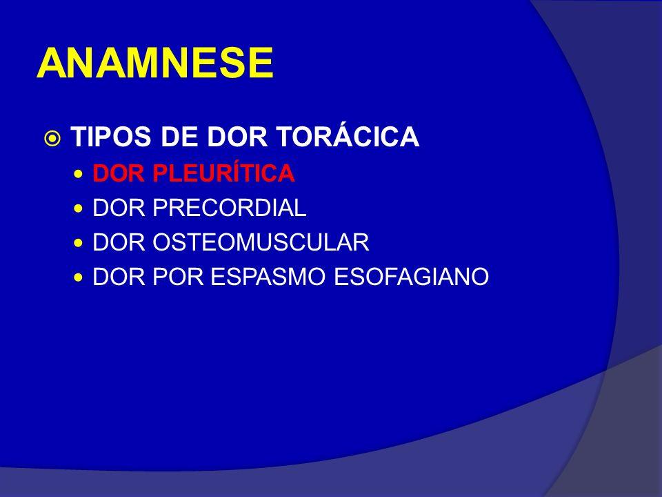 ANAMNESE TIPOS DE DOR TORÁCICA DOR PLEURÍTICA DOR PRECORDIAL DOR OSTEOMUSCULAR DOR POR ESPASMO ESOFAGIANO