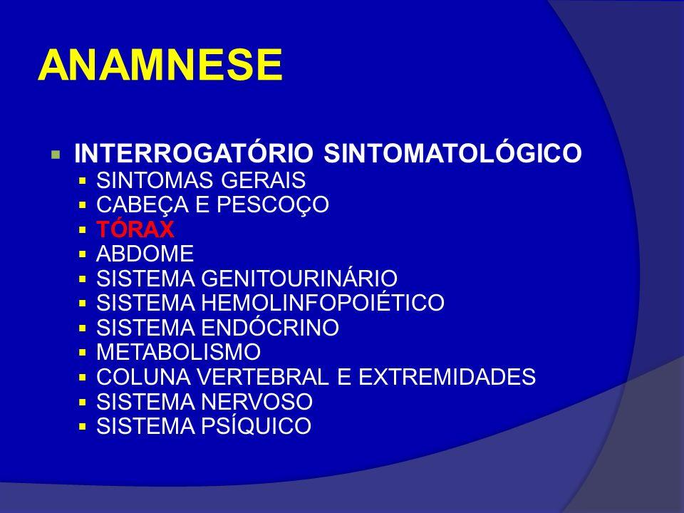 ANAMNESE INTERROGATÓRIO SINTOMATOLÓGICO SINTOMAS GERAIS CABEÇA E PESCOÇO TÓRAX ABDOME SISTEMA GENITOURINÁRIO SISTEMA HEMOLINFOPOIÉTICO SISTEMA ENDÓCRI