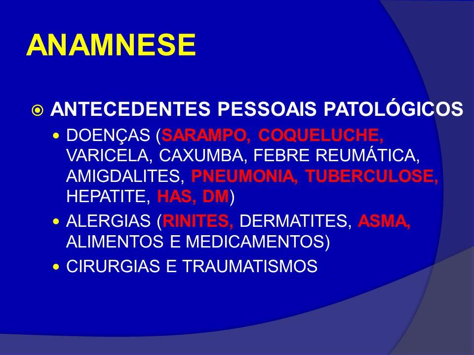 ANAMNESE ANTECEDENTES PESSOAIS PATOLÓGICOS DOENÇAS (SARAMPO, COQUELUCHE, VARICELA, CAXUMBA, FEBRE REUMÁTICA, AMIGDALITES, PNEUMONIA, TUBERCULOSE, HEPA