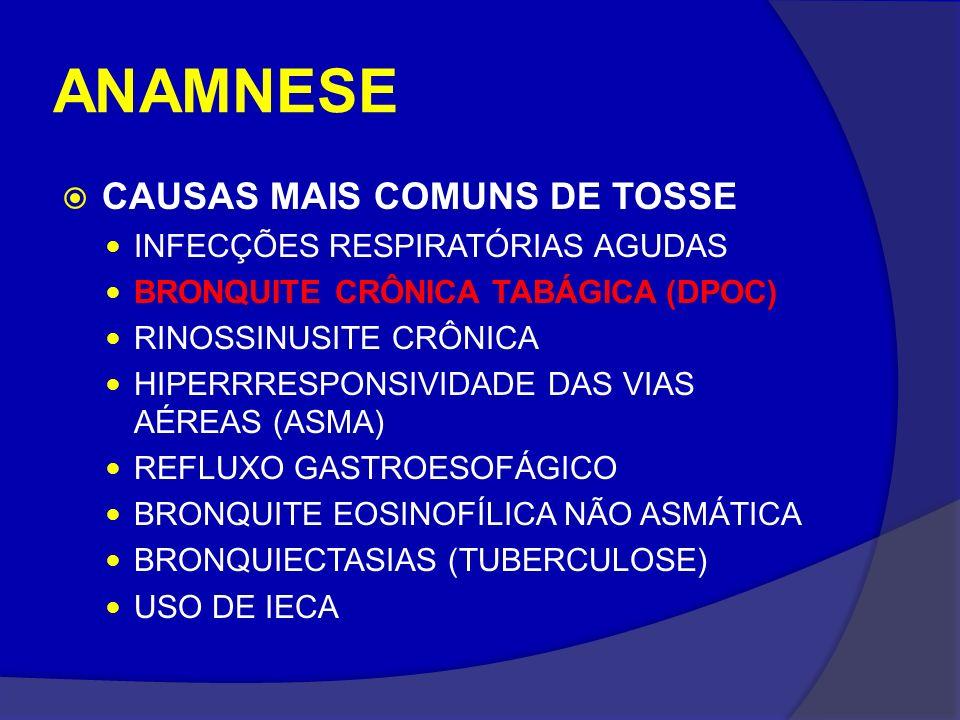 ANAMNESE CAUSAS MAIS COMUNS DE TOSSE INFECÇÕES RESPIRATÓRIAS AGUDAS BRONQUITE CRÔNICA TABÁGICA (DPOC) RINOSSINUSITE CRÔNICA HIPERRRESPONSIVIDADE DAS V