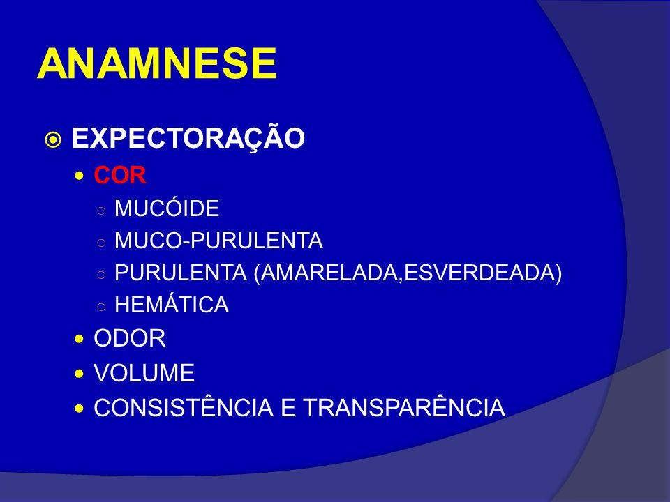 ANAMNESE EXPECTORAÇÃO COR MUCÓIDE MUCO-PURULENTA PURULENTA (AMARELADA,ESVERDEADA) HEMÁTICA ODOR VOLUME CONSISTÊNCIA E TRANSPARÊNCIA
