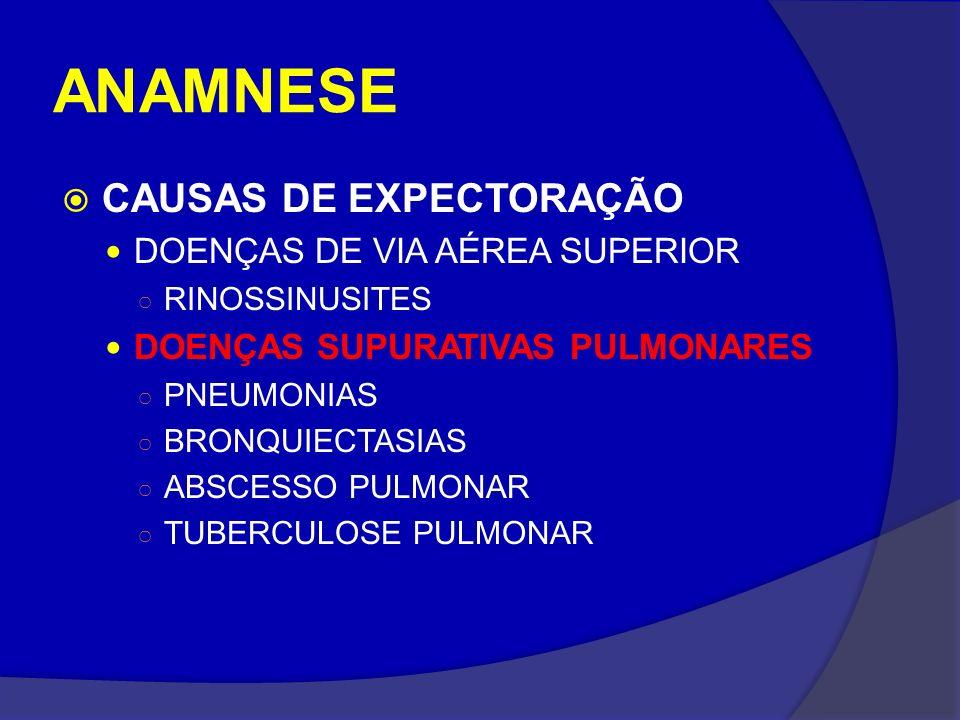 ANAMNESE CAUSAS DE EXPECTORAÇÃO DOENÇAS DE VIA AÉREA SUPERIOR RINOSSINUSITES DOENÇAS SUPURATIVAS PULMONARES PNEUMONIAS BRONQUIECTASIAS ABSCESSO PULMON