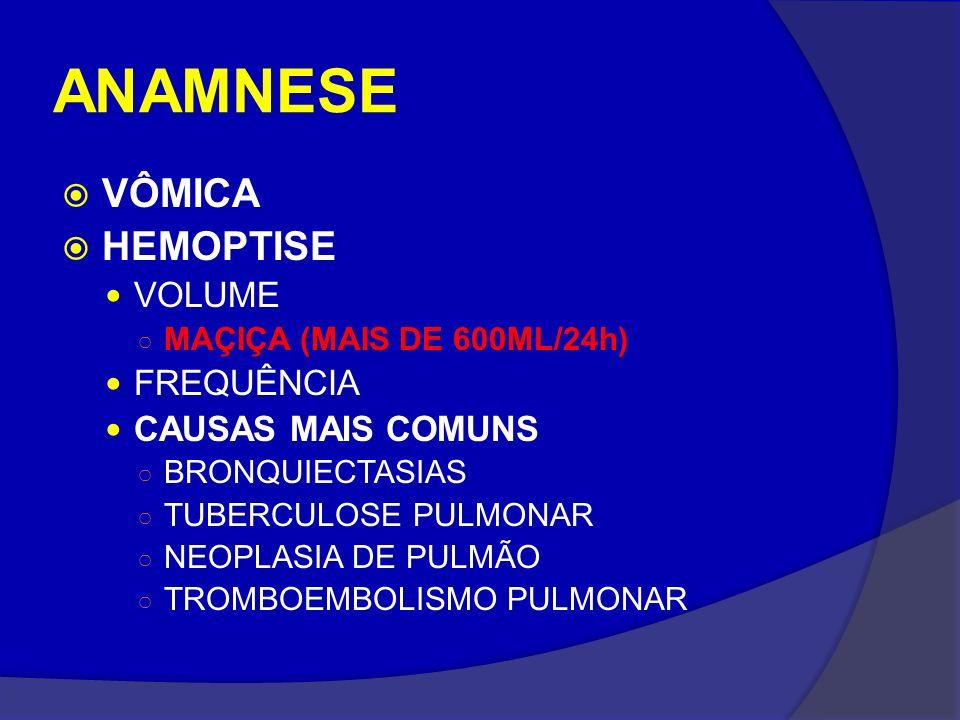 ANAMNESE VÔMICA HEMOPTISE VOLUME MAÇIÇA (MAIS DE 600ML/24h) FREQUÊNCIA CAUSAS MAIS COMUNS BRONQUIECTASIAS TUBERCULOSE PULMONAR NEOPLASIA DE PULMÃO TRO