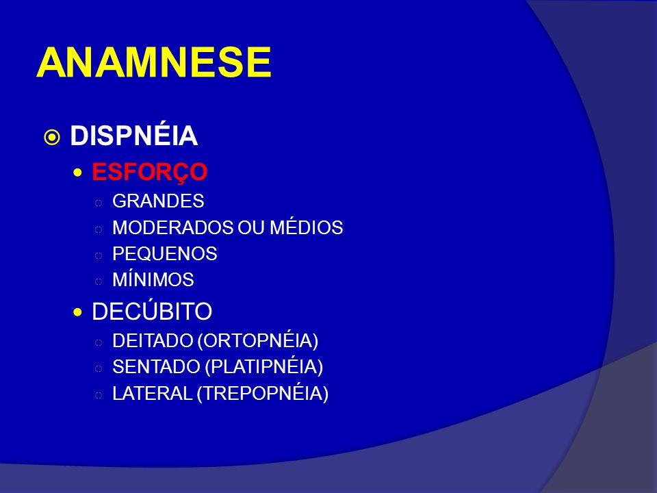 ANAMNESE DISPNÉIA ESFORÇO GRANDES MODERADOS OU MÉDIOS PEQUENOS MÍNIMOS DECÚBITO DEITADO (ORTOPNÉIA) SENTADO (PLATIPNÉIA) LATERAL (TREPOPNÉIA)