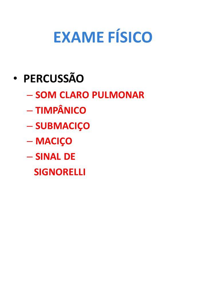 EXAME FÍSICO PERCUSSÃO – SOM CLARO PULMONAR – TIMPÂNICO – SUBMACIÇO – MACIÇO – SINAL DE SIGNORELLI