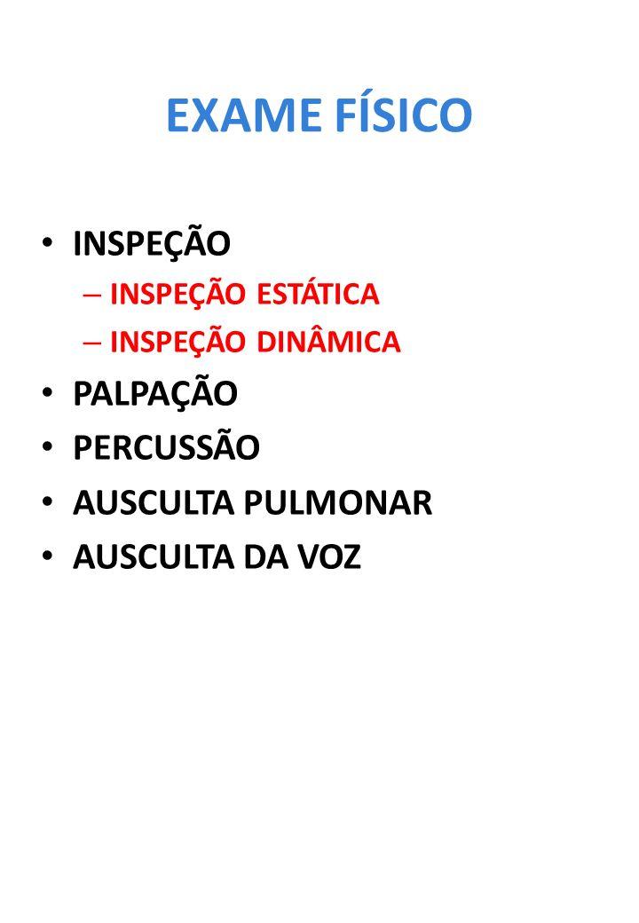 EXAME FÍSICO INSPEÇÃO – INSPEÇÃO ESTÁTICA – INSPEÇÃO DINÂMICA PALPAÇÃO PERCUSSÃO AUSCULTA PULMONAR AUSCULTA DA VOZ
