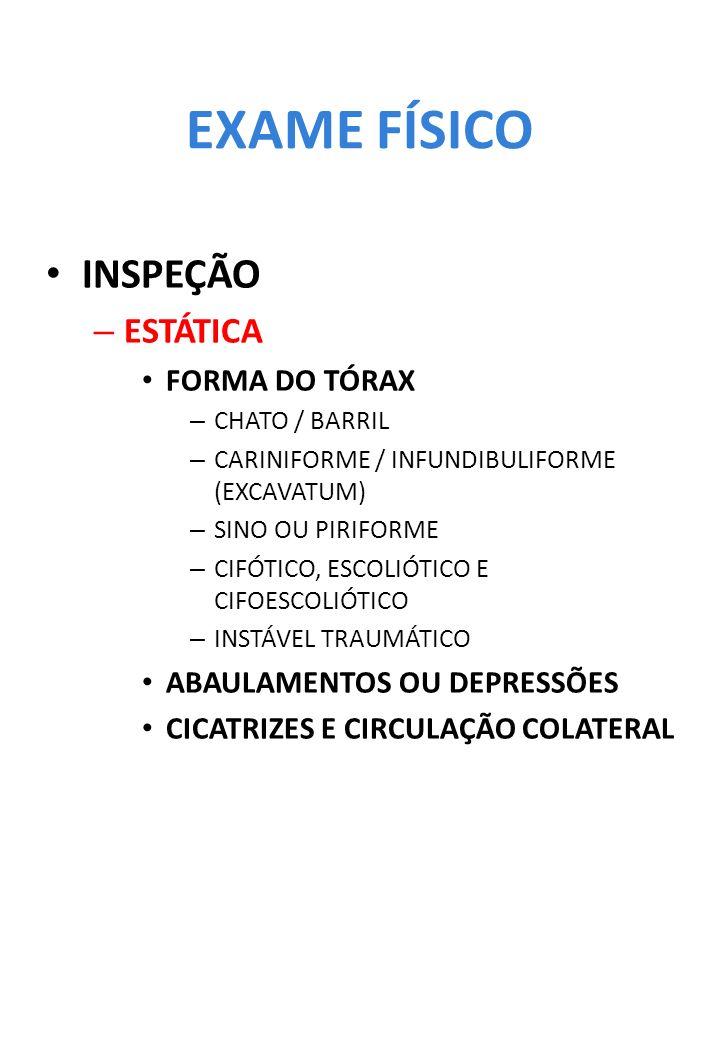 EXAME FÍSICO INSPEÇÃO – ESTÁTICA FORMA DO TÓRAX – CHATO / BARRIL – CARINIFORME / INFUNDIBULIFORME (EXCAVATUM) – SINO OU PIRIFORME – CIFÓTICO, ESCOLIÓT