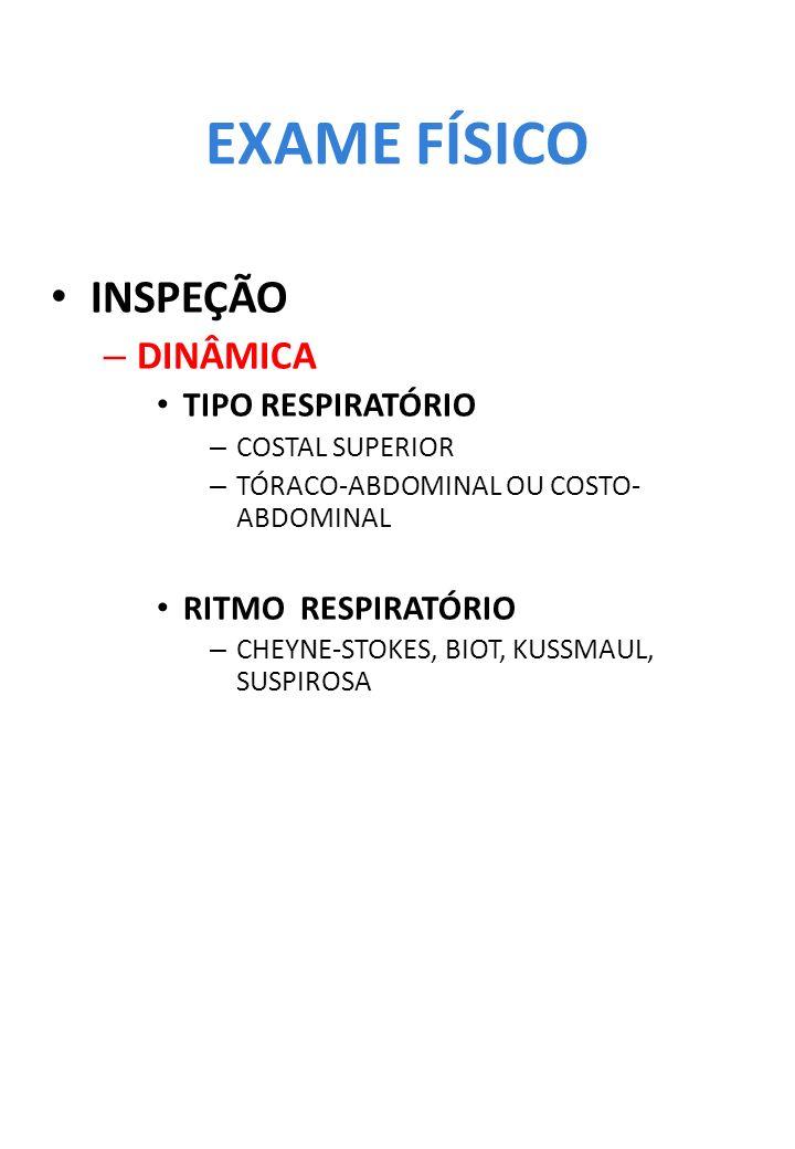 EXAME FÍSICO INSPEÇÃO – DINÂMICA TIPO RESPIRATÓRIO – COSTAL SUPERIOR – TÓRACO-ABDOMINAL OU COSTO- ABDOMINAL RITMO RESPIRATÓRIO – CHEYNE-STOKES, BIOT,