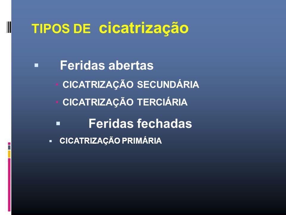 TIPOS DE cicatrização Feridas abertas CICATRIZAÇÃO SECUNDÁRIA CICATRIZAÇÃO TERCIÁRIA Feridas fechadas CICATRIZAÇÃO PRIMÁRIA