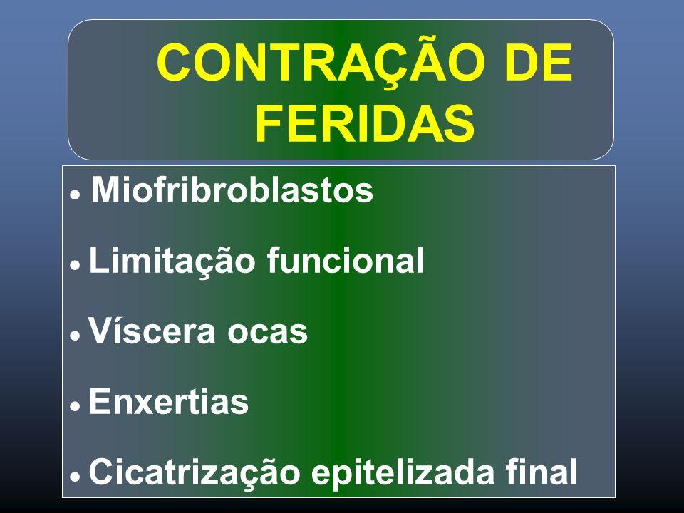 CONTRAÇÃO DE FERIDAS Miofribroblastos Limitação funcional Víscera ocas Enxertias Cicatrização epitelizada final